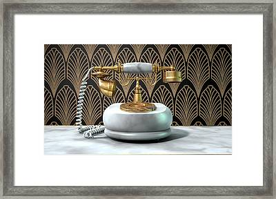 Marble Telephone And Art Deco Scene Framed Print by Allan Swart