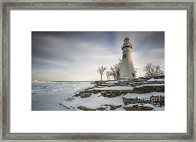 Marblehead Lighthouse Winter Framed Print by James Dean