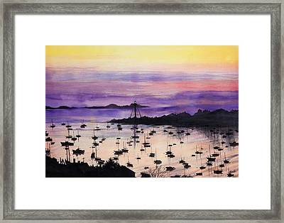Marblehead Sunset Watercolor Framed Print by Michelle Wiarda