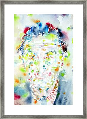 Marcel Duchamp - Watercolor Portrait Framed Print by Fabrizio Cassetta