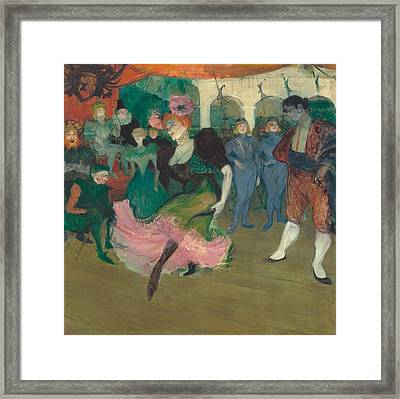 Marcelle Lender Dancing The Bolero In Chilperic Framed Print by Toulouse-Lautrec