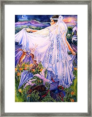 March Bride With Boxing Hares  Framed Print by Trudi Doyle