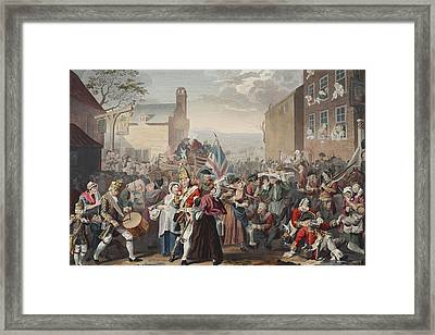 March Of The Guards To Finchley Framed Print by William Hogarth