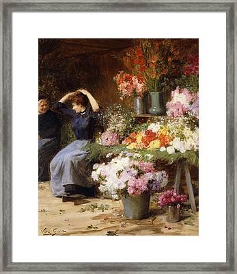 Marchande De Fleurs Framed Print by Victor Gabriel Gilbert