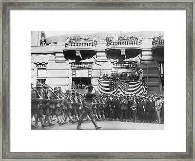 Marching Down Fifth Avenue Framed Print by Underwood Archives