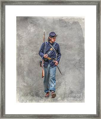 Marching Union Soldier Ver Three Framed Print by Randy Steele