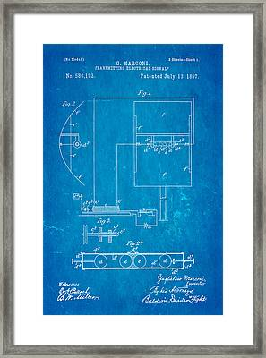 Marconi Radio Patent Art 1897 Blueprint Framed Print by Ian Monk