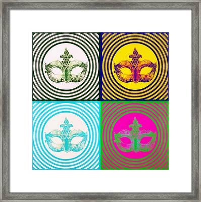 Mardis Gras Mask Pop Art Collage Framed Print by Dan Sproul