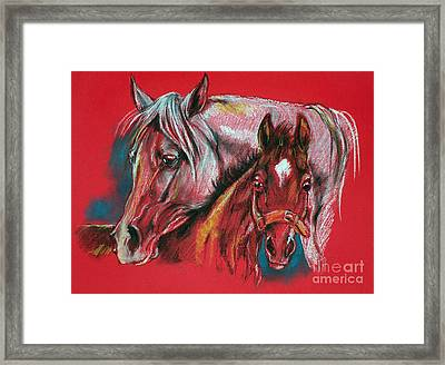 Mare With A Foal Framed Print by Angel  Tarantella