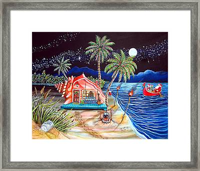 Margaritaville Conch Christmas Framed Print by Abigail White