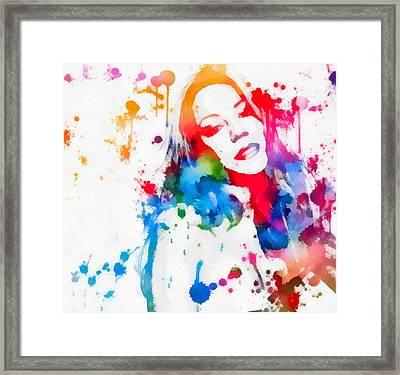 Mariah Carey Watercolor Paint Splatter Framed Print by Dan Sproul