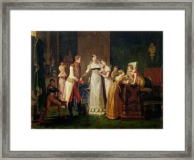 Marie-louise Of Austria Bidding Farewell To Her Family In Vienna Framed Print by Pauline Auzou