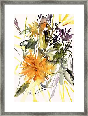 Marigold And Other Flowers Framed Print by Claudia Hutchins-Puechavy