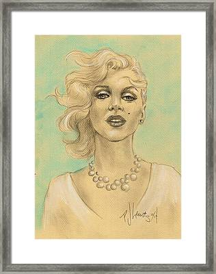 Marilyn In White Framed Print by P J Lewis