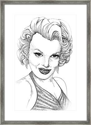 Marilyn Monroe -stipple Framed Print by Linda Simon