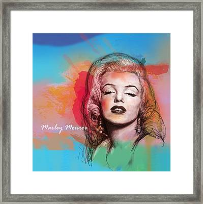 Marilyn Monroe Stylised Pop Art Drawing Sketch Poster Framed Print by Kim Wang