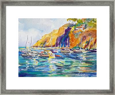 Marina At Catalina Framed Print by Therese Fowler-Bailey