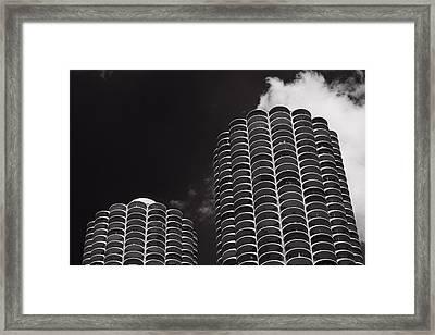 Marina City Morning B W Framed Print by Steve Gadomski