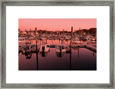 Marina Golden Hour Framed Print by Lourry Legarde