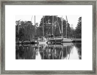 Marina In Black And White Framed Print by Carolyn Ricks