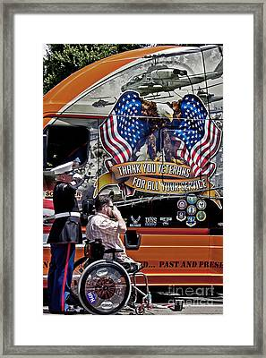 Marine And Wounded Warrior Framed Print by Tom Gari Gallery-Three-Photography