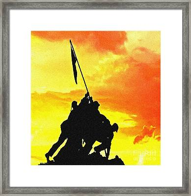 Marine Iwo Jima Memorial Dc Framed Print by Bob and Nadine Johnston