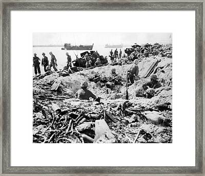Marines Land On Roi-namur Framed Print by Underwood Archives