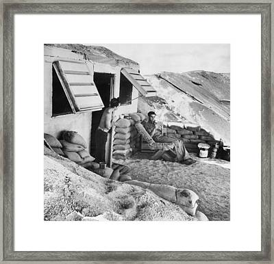 Marines Relax On Midway Island Framed Print by Underwood Archives