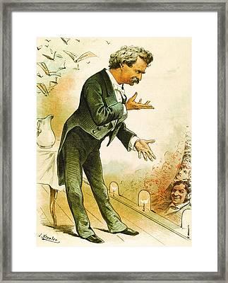 Mark Twain Americas Best Humorist Framed Print by Joseph Keppler
