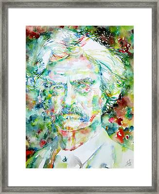 Mark Twain - Watercolor Portrait Framed Print by Fabrizio Cassetta