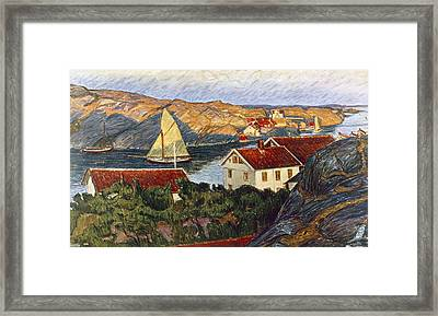 Market In A Coastal Place Framed Print by Karl Fredrick Nordstrom
