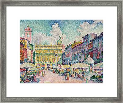 Market Of Verona Framed Print by Paul Signac