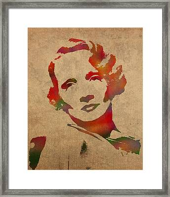 Marlene Dietrich Movie Star Watercolor Painting On Worn Canvas Framed Print by Design Turnpike