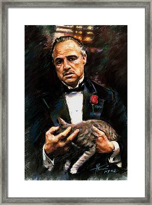 Marlon Brando The Godfather Framed Print by Viola El