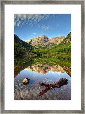 Maroon Bells And Maroon Lake Framed Print by Ken Smith