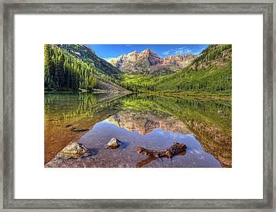 Maroon Bells Reflections Framed Print by Ken Smith
