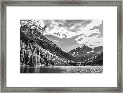 Maroon Lake Framed Print by Aaron Spong