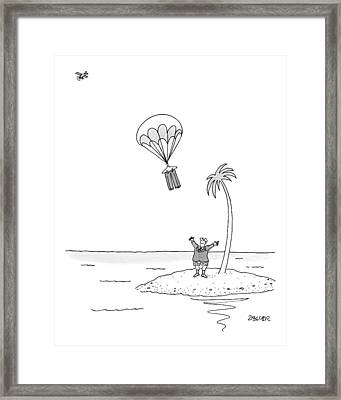 Marooned On An Island Framed Print by Jack Ziegler