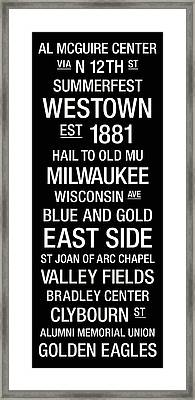 Marquette College Town Wall Art Framed Print by Replay Photos