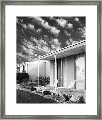 Marrakesh Lounge Bw Palm Springs Framed Print by William Dey