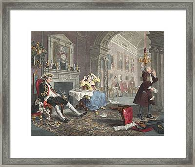 Marriage A La Mode, Plate II, The Tete Framed Print by William Hogarth