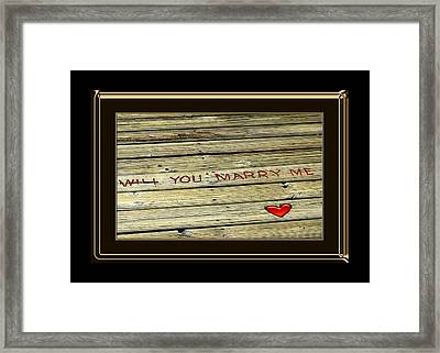 Marriage Proposal Framed Print featuring the photograph Marry Me by Carolyn Marshall