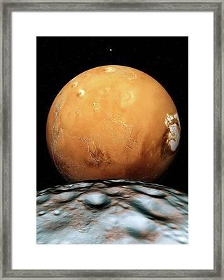 Mars And Its Moons Framed Print by Detlev Van Ravenswaay