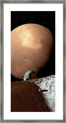 Mars Seen From Phobos Framed Print by Detlev Van Ravenswaay