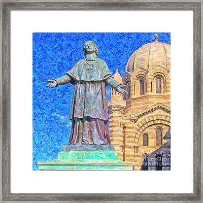 Marseille Cathedral Painting Framed Print by Antony McAulay