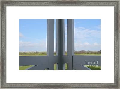 Marsh And Porch Framed Print by Cathy Lindsey