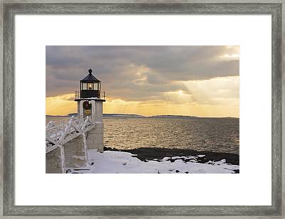 Marshall Point Lighthouse In Winter Maine  Framed Print by Keith Webber Jr