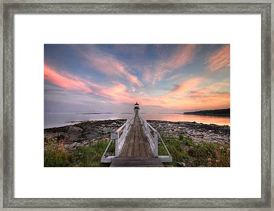 Marshall Point Sunset Framed Print by Lori Deiter
