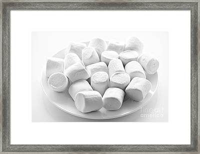 Marshmallows On Plate Framed Print by Elena Elisseeva