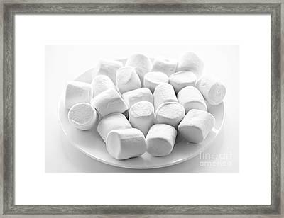 Marshmallows On Plate Framed Print by Elena Elisseeva